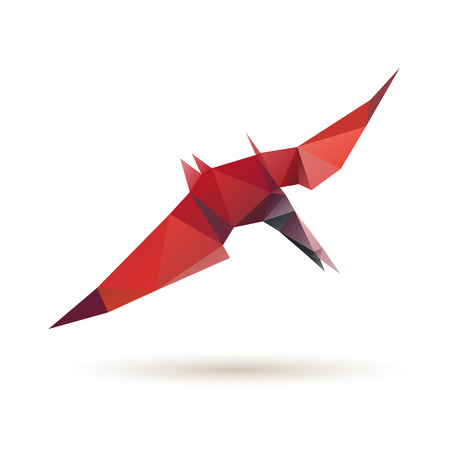 Pterodactyl abstract isolated on a white backgrounds, vector illustration Vector