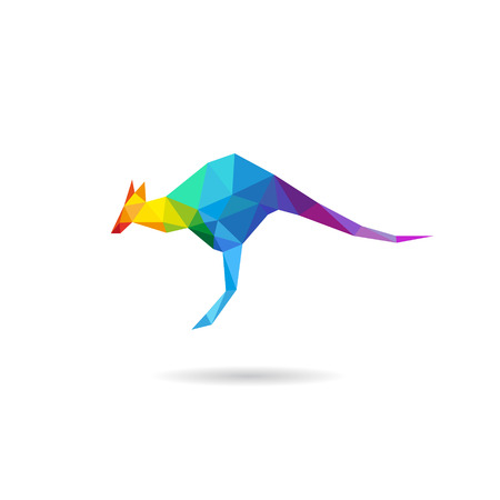 Kangaroo abstract isolated on a white backgrounds, vector illustration Illustration