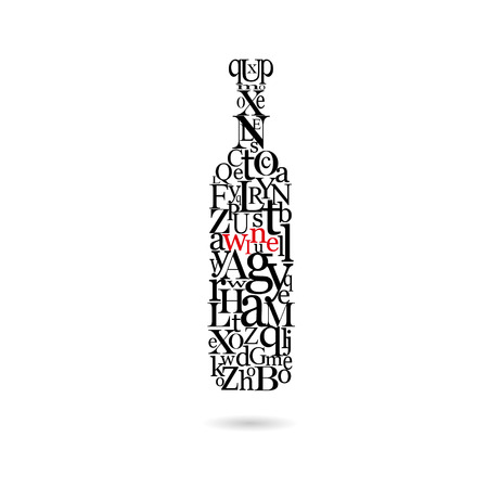 Typography bottle of wine, vector illustration