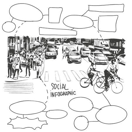 市バナー落書きデザイン要素、ベクトル イラスト