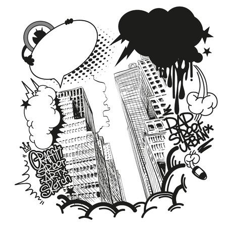 grafitis: Ciudad de elementos de dise�o de la bandera graffiti, ilustraci�n vectorial
