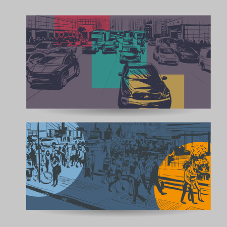 Set of city banner design elements, vector illustration Ilustração