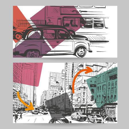 new york street: Set of city banner design elements, vector illustration Illustration