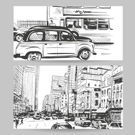 Set of city banner design elements, vector illustration Illustration