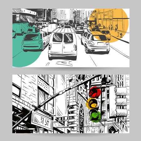 Set of city banner design elements, vector illustration Vettoriali