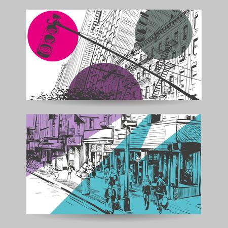 Set of city banner design elements, vector illustration Vectores
