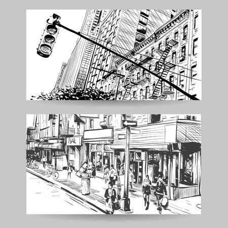 clipart street light: Set of city banner design elements, vector illustration Illustration