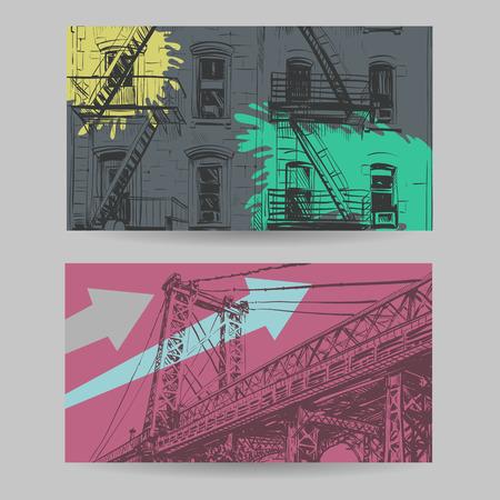avenue: Set of city banner design elements, vector illustration Illustration