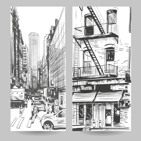 Set of city banner design elements, vector illustration Vector