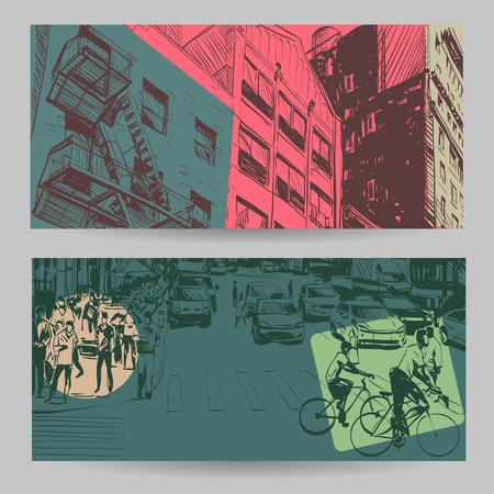 pedestrian crossing: Set of city banner design elements, vector illustration Illustration