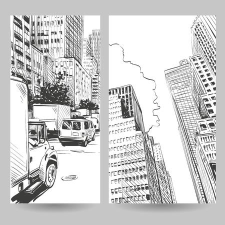 Stellen Sie in der Stadt Banner-Design-Elemente, Vektor-Illustration Standard-Bild - 36811038