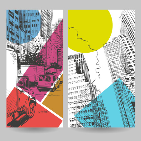 new york buildings: Set of city banner design elements, vector illustration Illustration