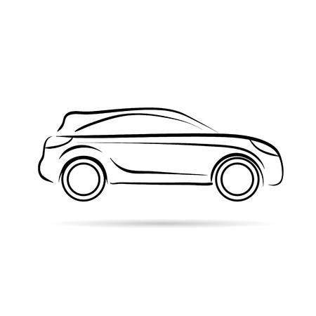 자동차 추상 라인 벡터 디자인 개념 일러스트