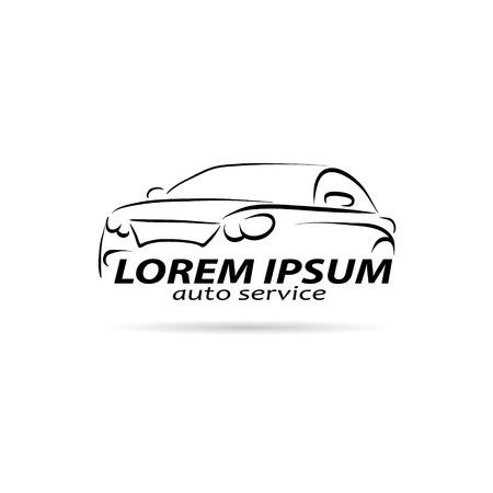 車の抽象的な線ベクトル デザイン コンセプト