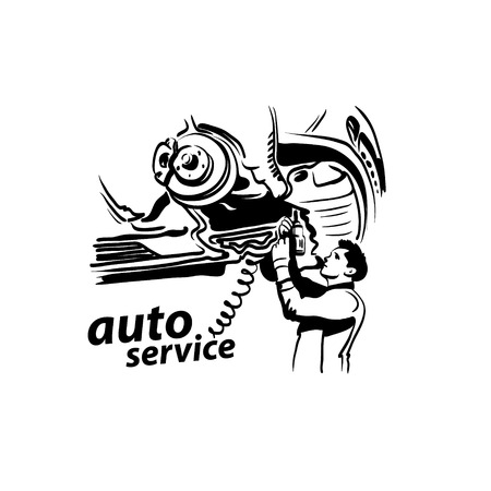 auto service: Auto service silhouette abstract, vector illustration