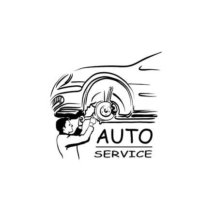 auto service: Auto service silhouette abstract, vector illustration