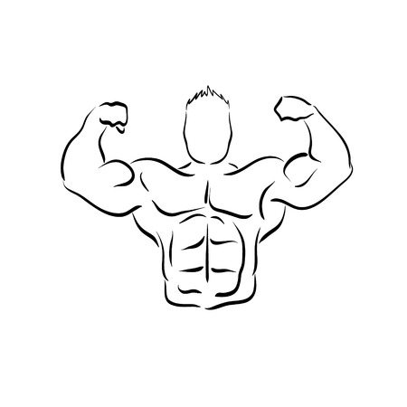 Bodybuilder silhouette abstract, vector illustration Illustration