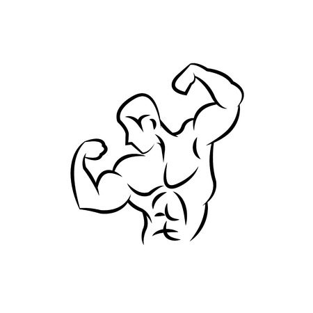 Bodybuilder silhouette abstract, vector illustration Vector