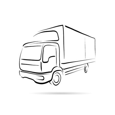 트럭 추상 라인 벡터 디자인 개념