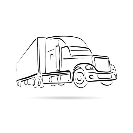 hand truck: Truck abstract lines vector design concept