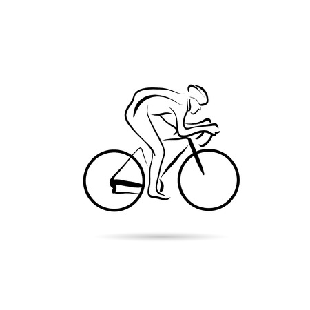 Cyclist abstract lines vector design concept Illustration