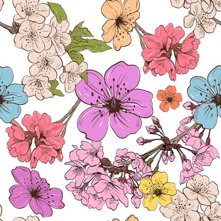 Apple flowers ornament pattern backgrounds, vector illustration