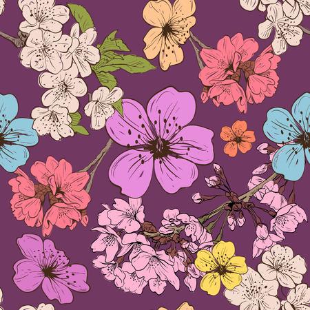 flor de durazno: Flores de Apple ornamento fondos, ilustración vectorial