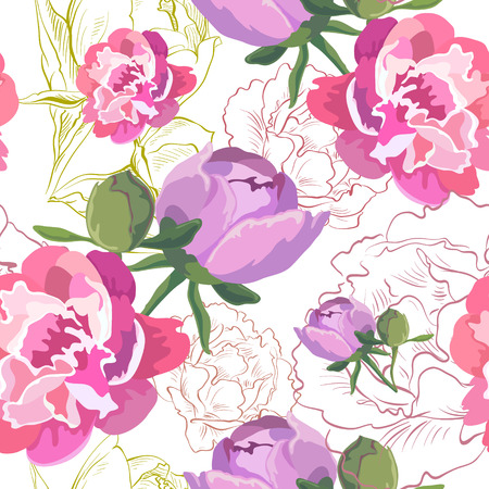 Peony ornament pattern backgrounds, vector illustration Vector