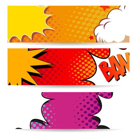 cartoon superhero: Set of comics boom backgrounds, vector illustration Illustration