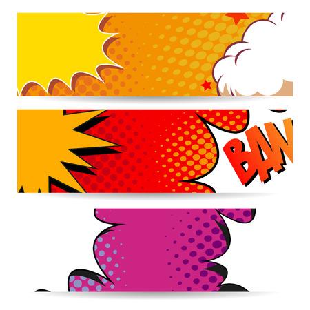 brandweer cartoon: Set van comics boom achtergronden, vector illustratie