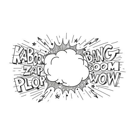 ブーム。コミック explosion.hand 描画ベクトル図