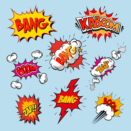 bomb explosion: Set of comics boom, vector illustration Illustration