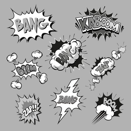 Set of comics boom, vector illustration Illustration