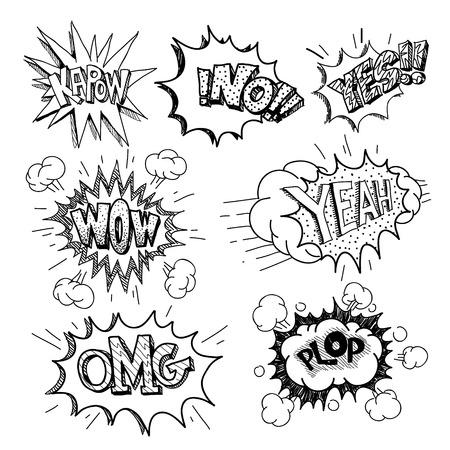 Set of comics boom, vector illustration Vector