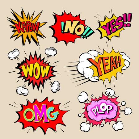 boom: Set of comics boom, vector illustration Illustration