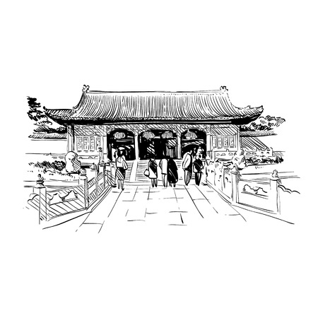 China City Sketch Design Illustration Royalty Free Cliparts
