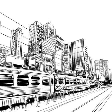 China city sketch, design. illustration Vettoriali