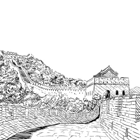 great wall of china: The Great Wall of China sketch