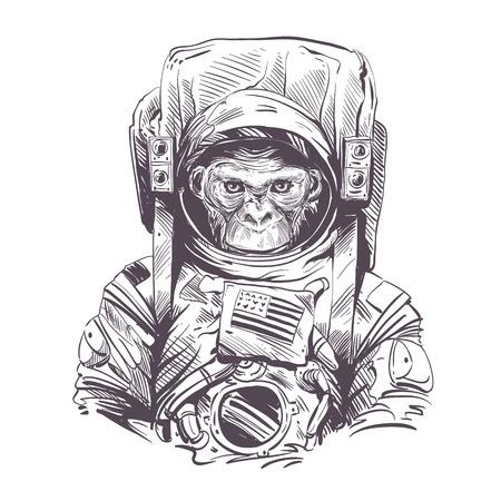 Mono en traje de astronauta