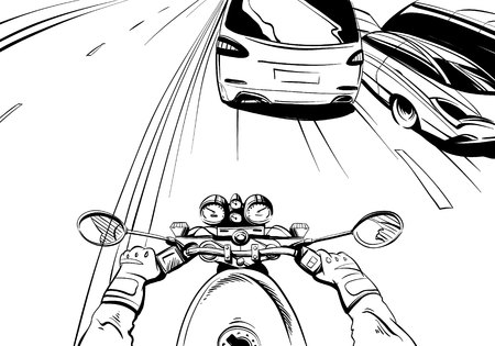 motorcyclist: Motorcyclist riding on a motorcycle. Hand drawn comic illustration