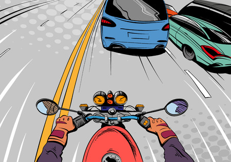 the traffic movement police: Motorcyclist riding on a motorcycle. Illustration