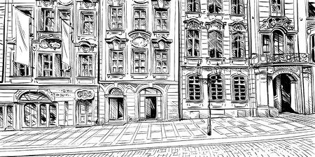 Prague city  sketch. European city, illustration Illustration
