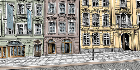 Prague City Sketch European Illustration Vector