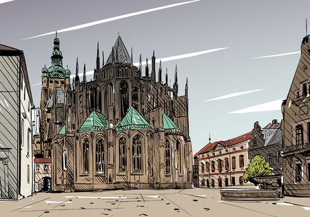Prague city  sketch. European city, illustration  イラスト・ベクター素材