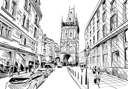 Prague city  sketch. European city, illustration Stock Illustratie