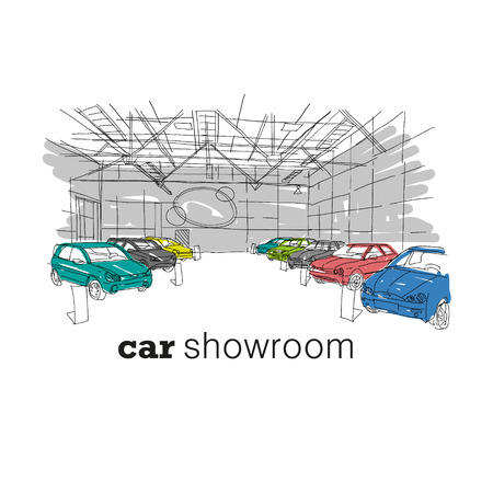 car showroom: Car showroom interior design sketch. Hand drawn vector illustration Illustration