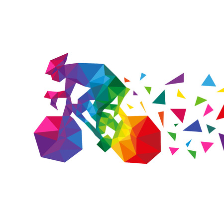 Bicyclist abstract triangle design concept element isolated on a white backgrounds, vector illustration