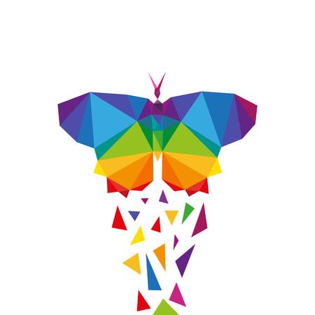 Mariposa triángulo abstracto concepto de diseño elemento aislado en un fondo blanco, ilustración vectorial