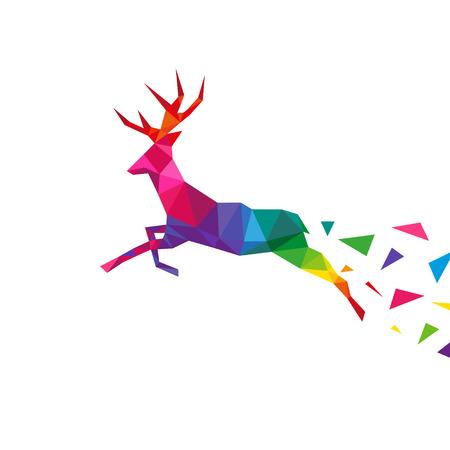 鹿は、白い背景、ベクトル図で分離された三角形デザイン概念要素を抽象化します。