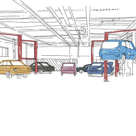 spare parts: Auto service interior design sketch. Hand drawn vector illustration